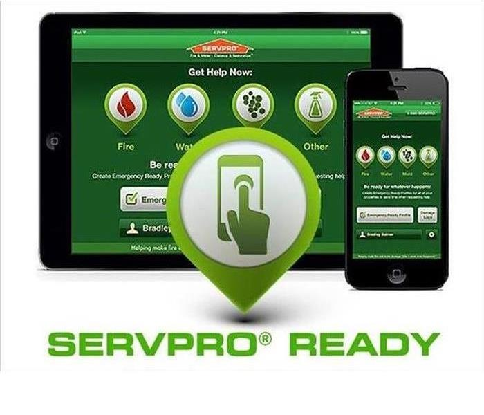 the servpro Ready app is shown on a tablet and mobile phone