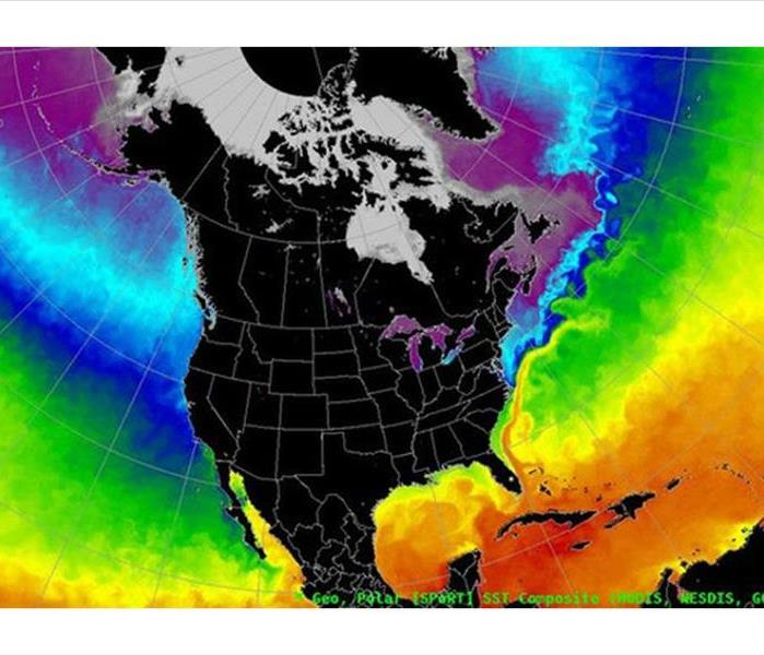 thermal temperature map of north america, more blue and green colder readings in the pacific and warmer in the atlantic