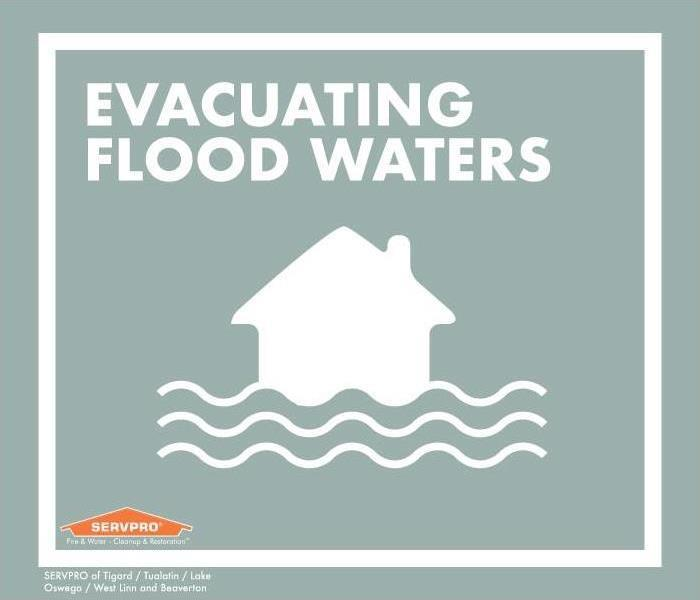 "House and water graphic with grey background. Text reads: ""Evacuating flood waters"""