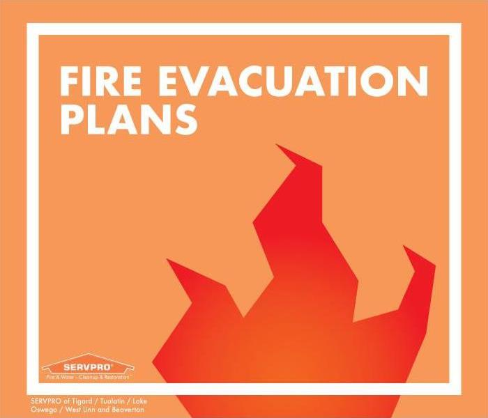 Clip art flame with text that reads fire evacuation plans