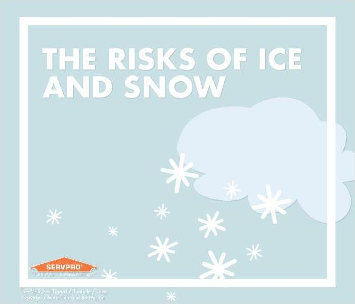 Storm cloud graphic with snowflakes, text reads The Risks of Ice and Snow