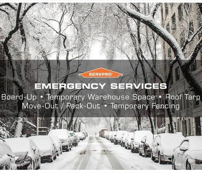 Neighborhood street after winter storm, servpro provides emergency services