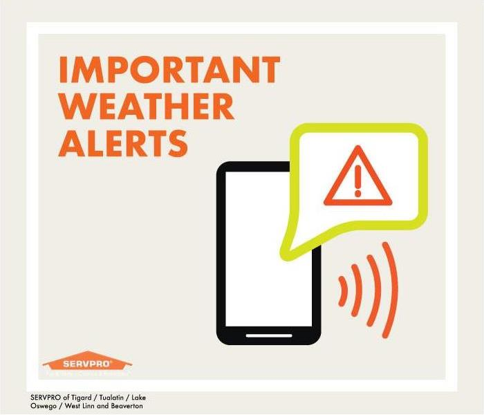black smart phone, text bubble with alert symbol, red triangle with exclamation mark. text: important weather alerts