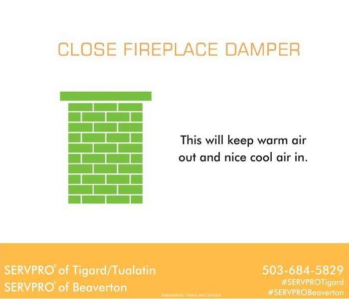 Fire Damage Close your fireplace damper to lower cooling costs