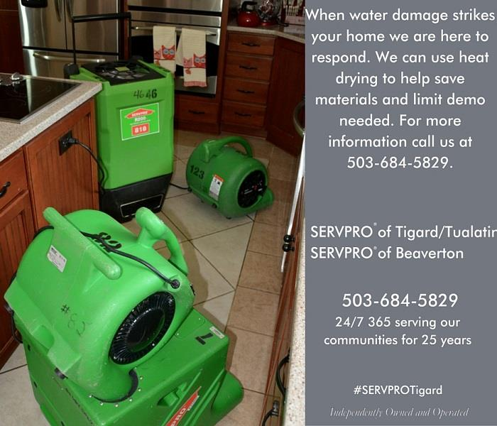 Water Damage Using heat drying in water damages